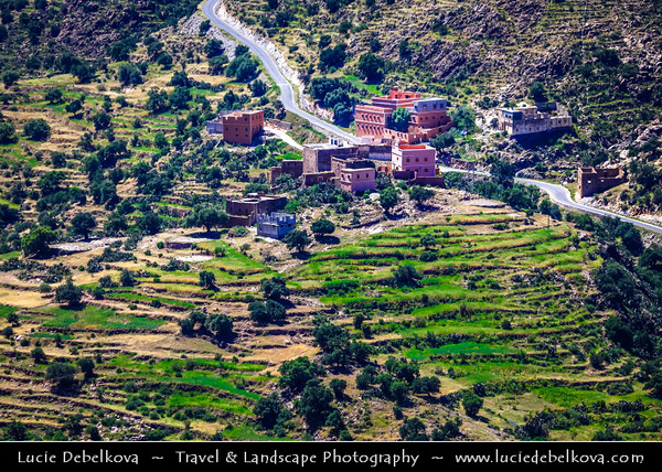 Africa - Morocco - Souss-Massa Region - Chtouka Aït Baha Province - Spectacular mountain road between Ait Baha & Tizourgane in Anti Atlas hilly landscape with traditional villages and agadirs