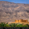 Northern Africa - Kingdom of Morocco - Zagora Province - Tamnougalt - Historical Kasbah & date palm oasis in Atlas Mountains located in Draa River valley - 16th-century fortified village that's among oldest mudbrick ksour/ksar still standing