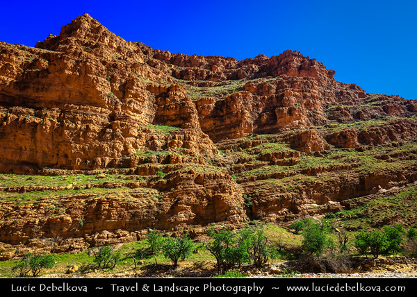 Northern Africa - Kingdom of Morocco - Souss-Massa Region - Tiznit Province - Ait Mansour Gorge - Vallee d'Ait Mansour - Spectacular rock canyon & date palm oasis with historical villages in Anti-Atlas Mountains