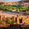 Northern Africa - Kingdom of Morocco - Souss-Massa-Drâa - Aït Benhaddou - Ksar of Ait-Ben-Haddou - Ath Benhadu - UNESCO World Heritage Site - Fortified mudbrick kasbah - city along former caravan route between Sahara & Marrakech along Ounila River valley