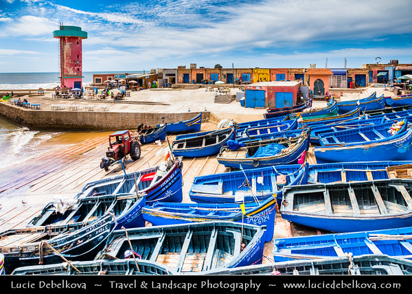 Northern Africa - Kingdom of Morocco - Souss-Massa Region - Imsouane - Old fishing village situated on Atlantic coast within Ida ou Tanane nature reserve - Bright blue painted wooden fishing boats