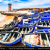 Northern Africa - Kingdom of Morocco - Souss-Massa Region - Imsouane - Old fishing village situated on Atlantic coast within Ida ou Tanane nature reserve - Bright blue painted wooden fishing boats