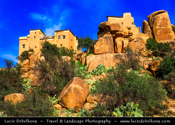 Africa - Morocco - Souss-Massa Region - Tiznit Province - Tafraout - Tafrawt - Tafraoute - Berber town in central part of Anti-Atlas mountains surrounded by incredible rocky red-granite formations