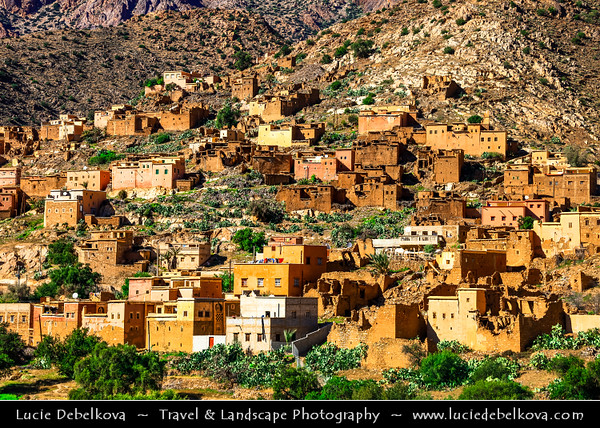 Africa - Morocco - Souss-Massa Region - Spectacular mountain road between Tizourgane & Tafraout in Anti Atlas hilly landscape with traditional villages and agadirs