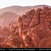 Africa - Morocco - Atlas Mountains - Dadès Gorges - Gorges du Dadès - Valley of Dadès River - Some of the most spectacular scenery of the south - Red rock limestone fingers