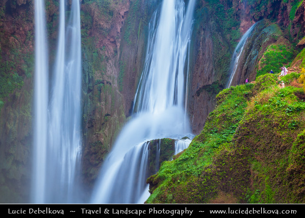 Africa - Morocco - Azilal province - Grand Atlas - Tanaghmeilt village - Cascades d'Ouzoud - Ouzoud waterfalls on fast flowing El Abid River in gorge in Middle Atlas mountains