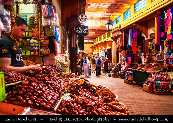 Africa - Morocco - Fes - Fez - UNESCO World Heritage Site - Imperial Historic City founded in 9th century - Home to the oldest university in the world - Old Medina with madrasas, fondouks, palaces, residences, mosques & fountains - Souq - Souk - Traditional market