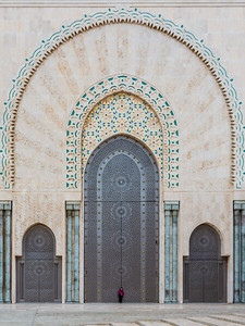 Enormous doors of the Hassan II Mosque. Sheri gives it scale