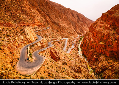 Africa - Morocco - Atlas Mountains - Dadès Gorges - Gorges du Dadès - Valley of Dadès River - Some of the most spectacular scenery of the south - Todra Gorge - Trench of gigantic rock walls that, change color and run through the High Atlas Mountains creating an absolutely magnificent spectacle