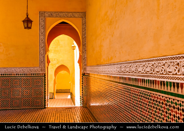 Africa - Morocco - Meknes - Mknas - Meknas - UNESCO World Heritage Site - Old Medina - Historic City of Meknes in Spanish-Moorish style surrounded by high walls - Mausoleum of Moulay Ismail - Antiquities Quranic quotations on tile work around the inside walls