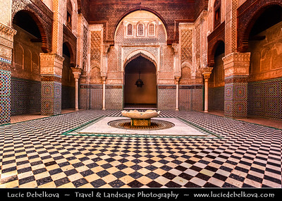 Africa - Morocco - Fes - Fez - UNESCO World Heritage Site - Imperial Historic City founded in 9th century - Home to the oldest university in the world - Old Medina with madrasas, fondouks, palaces, residences, mosques & fountains - Al-Attarine Madrasa - Medersa el-Attarine - Exquisitely decorated old Muslim school