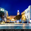 Africa - Morocco - Atlantic coast - Essaouira - UNESCO World Heritage Site - Old Medina - Historic center of charming coastal town with fortified walls at Dusk - Twilight - Blue Hour - Night