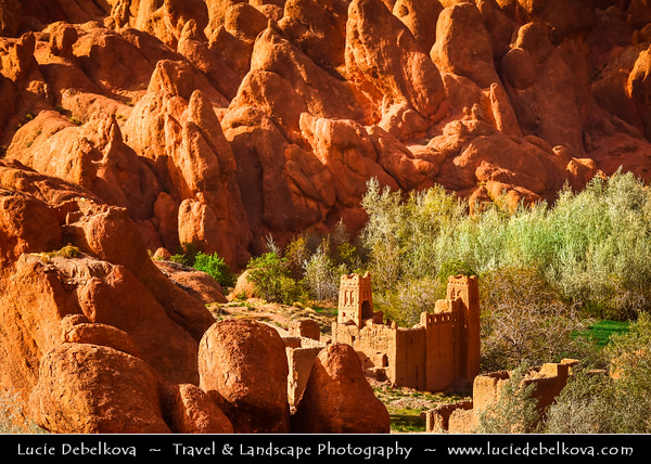 Africa - Morocco - Atlas Mountains - Dadès Gorges - Gorges du Dadès - Valley of Dadès River - Some of the most spectacular scenery of the south - Red rock limestone fingers - Long wall of fantastic geological formations