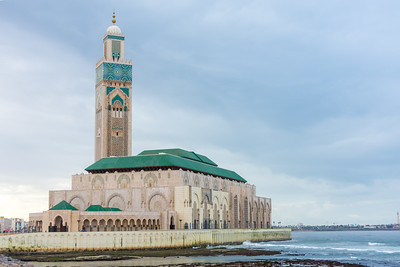 Hassan II Mosque in Casablanca, built right on the water's edge.
