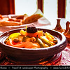 Africa - Morocco - Atlas Mountains - Dadès Gorges - Gorges du Dadès - Traditional tajine - tagine - tajin - Historically Berber dish from North Africa named after the type of earthenware pot in which it is cooked