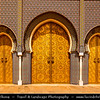 Africa - Morocco - Fes - Fez - UNESCO World Heritage Site - Imperial Historic City founded in 9th century - Home to the oldest university in the world - Old Medina with madrasas, fondouks, palaces, residences, mosques & fountains - Front Gate of Royal Palace of Fez - Palais Royal Dar El Makhzen
