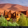 Africa - Morocco - Atlas Mountains - Dadès Gorges - Gorges du Dadès - Valley of Dadès River - Some of the most spectacular scenery of the south - Traditional Kasbah - casbah - qasbah - Type of medina, Islamic city or fortress (citadel)