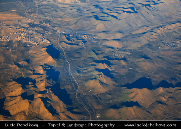 Northern Africa - Kingdom of Morocco - Marrakesh - Marrakech - Aerial View of Atlas Mountains - Mountain range in central Morocco
