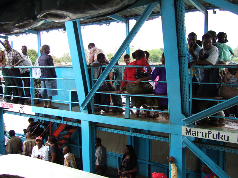 view of locals from the Mzungu Circus Bus on the ferry