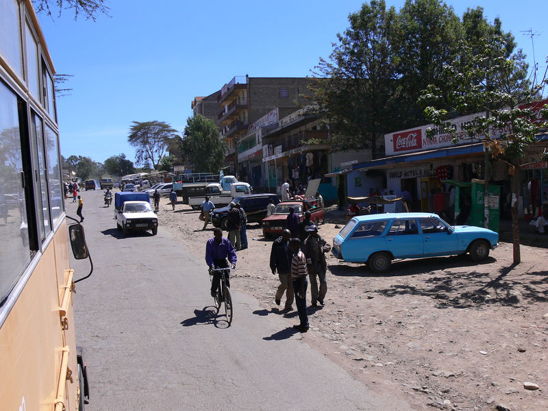 driving through Narok, the largest town between Nairobi and Maasi Mara