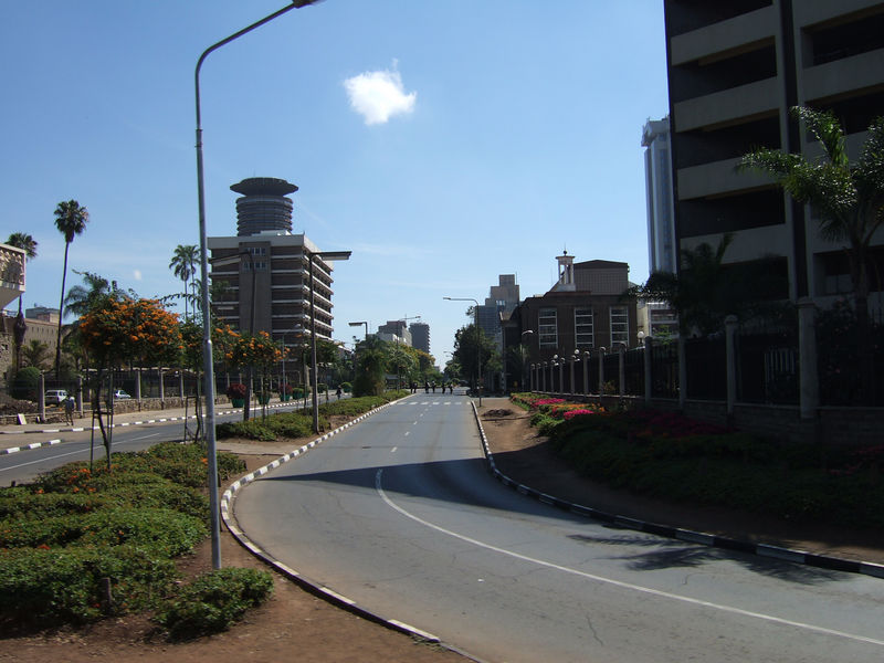 Downtown Nairobi - looking uncommonly quiet, although it was Saturday morning. It was usually much busier, verging on the chaotic.