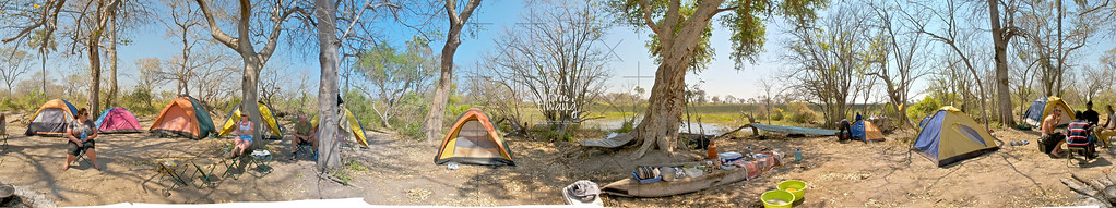 360° Panorama of our campsite on the Okavango Delta in Botswana.  There are a couple of blank areas because these photos were all handheld and manually stitched together.