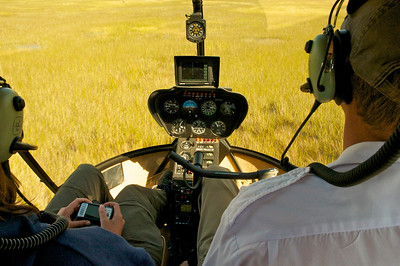 Helicopter over the Okavango