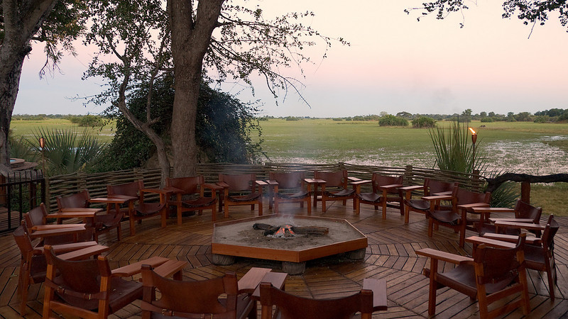 Fire pit gathering area at the lodge.