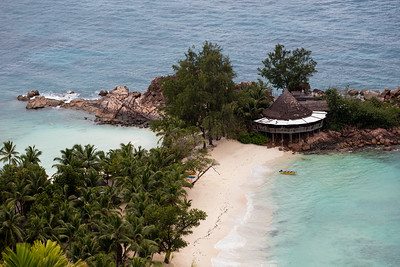 The Nest restaurant on Anse Petit Kerlan on Praslin island in the Seychelles.