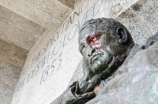 Vandalized Rhodes Memorial.