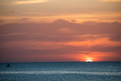 Sunset over the Indian Ocean as seen from a beachfront in Stone Town, Zanzibar.
