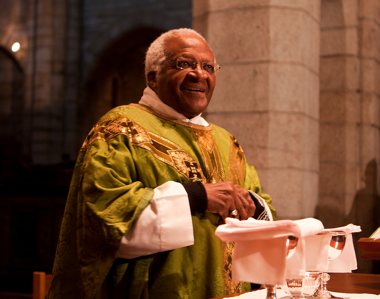 August 2008, Cape Town, South Africa - Desmond Tutu in ceremonial robes during a Friday morning service at St. George's cathedral in Cape Town in 2008. Desmond Mpilo Tutu (born 7 October 1931) is a South African cleric and activist who rose to worldwide fame during the 1980s as an opponent of apartheid. In 1984, Tutu became the second South African to be awarded the Nobel Peace Prize. Tutu was elected and ordained the first black South African Anglican Archbishop of Cape Town, South Africa, and primate of the Church of the Province of Southern Africa (now the Anglican Church of Southern Africa). Tutu chaired the Truth and Reconciliation Commission and is currently the chairman of The Elders. Tutu is vocal in his defence of human rights and uses his high profile to campaign for the oppressed. Tutu also campaigns to fight AIDS, poverty and racism. He received the Nobel Peace Prize in 1984, the Albert Schweitzer Prize for Humanitarianism, and the Gandhi Peace Prize in 2007.