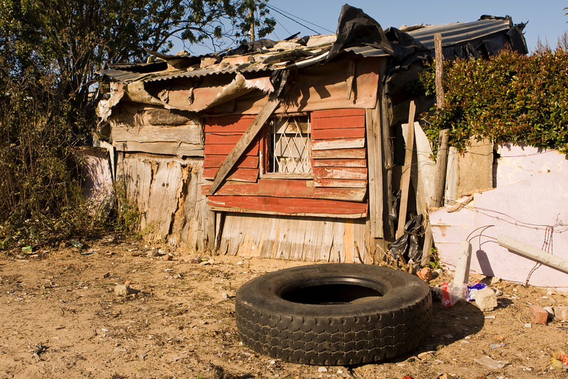 A typical shanty home in a South Africa township that is representative of the housing found in the informal settlements that are located around the edges of many cities throughout the country.