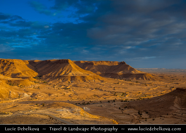 Northern Africa - Tunisia - Tataouine district - Mountain view from Chenini - شنيني - Ancient ruined Berber village on a hilltop & former ksar - fortified granary