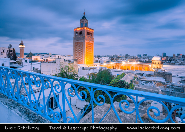 Northern Africa - Tunisia - Tunis - تونس - Tūnis - Capital City - Medina of Tunis - UNESCO World Heritage Site - From the 12th to the 16th century, Tunis was considered one of the greatest and wealthiest cities in the Islamic world - Great Mosque of Al-Zaytuna - Ez-Zitouna - Ezzitouna Mosque - View from the Oriental Palace terrace