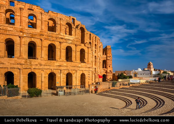 Northern Africa - Tunisia - El Djem Amphitheatre Coliseum - El Jem Roman Colosseum - UNESCO World Heritage Site - Impressive ruins of the largest colosseum in North Africa - Huge amphitheatre which could hold up to 35,000 spectators