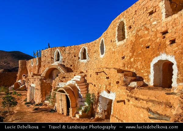 "Northern Africa - Tunisia - Sahara Desert - Matmata - مطماطة - Maṭmāṭah - Berber speaking town with some local Berber residents living in traditional underground ""troglodyte"" structures"