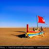 Northern Africa - Tunisia - Chott el Djerid - Sciott Gerid - Shott el Jerid - Chott el Jerid - Large endorheic desert salt lake in southern Tunisia near towns of Kebili and Douz - Red sail Boat