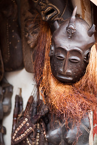 African masks at the Ugandan handicraft market in Kampala. The Ugandan handicraft industry is not as developed as neighboring Kenya and Tanzania, but peace since 2006 has since allowed greater development and distribution of local crafts.