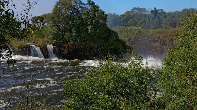 Looking down the westernmost part of the falls from the Zimbabwe side.