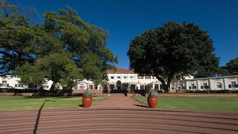 The rear view of the Victoria Falls Hotel