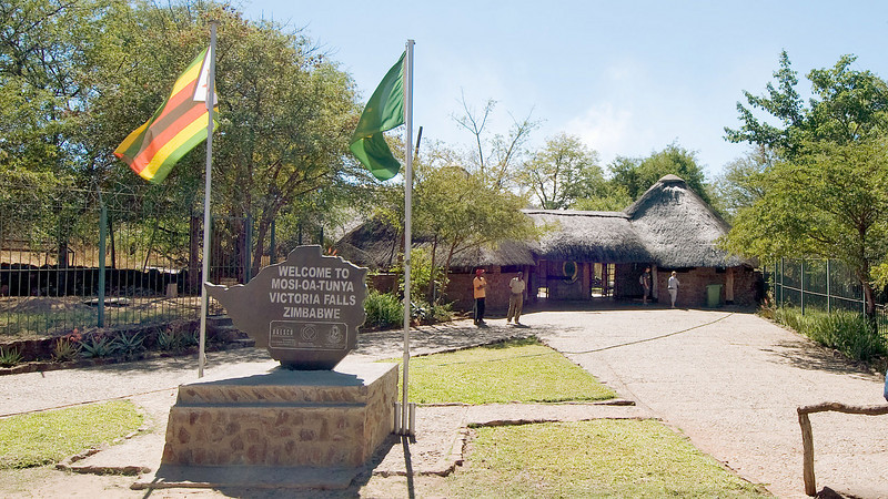 The entrance to the park containing Victoria Falls