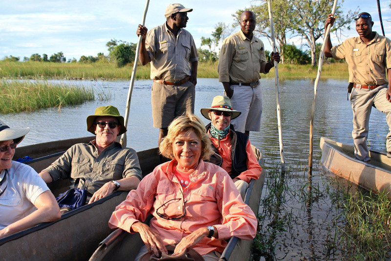 Time for our evening mokoro safari, which involves a poler transporting us in a tippy dug out canoe.