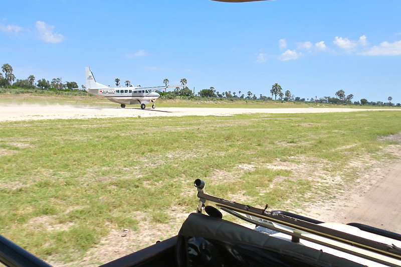 Bush plane and airstrip…Land Rovers first sweep it clear of Impala herds.