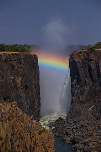 Victoria Falls, Zambia A rainbow over Victoria Falls shot from the Zambia side.