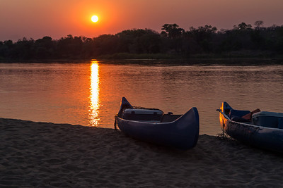 Lower Zambezi River, Zambia Our canoes at sunrise on the lower Zambezi River.