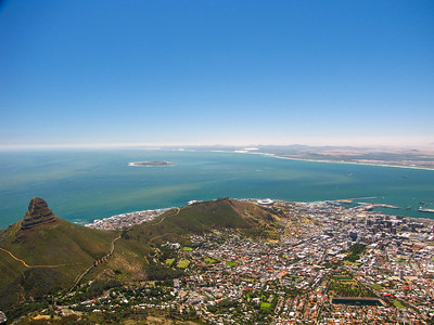 Lion's Head, Signal Hill, Robben Island, Table Bay, and the city of Cape Town, as seen from the top of Table Mountain.