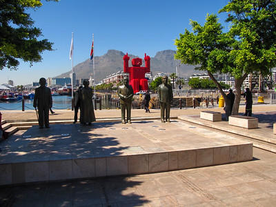 Morning at the V&A Waterfront. This sculpture commerates the four Nobel Peace Prize winners from South Africa - Albert Lithuli (1960), Desmond Tutu (1984), FW de Klerk (1993), and Nelson Mandela (1993).