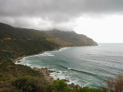 The road along the coast to Chapman's Peak - a gorgeous drive that follows the Atlantic Ocean side of the Cape of Good Hope.