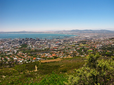 View of Cape Town and Table Bay from the base of the Table Mountain cableway.
